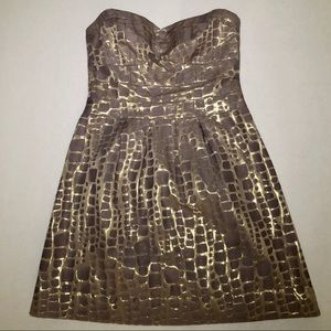 American Eagle Strapless Dress Gray & Gold